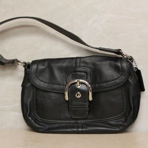 COACH Soho Black Leather Flap Shoulder Bag 13105